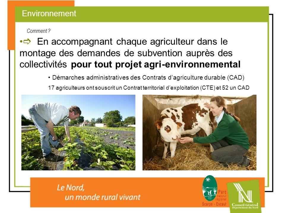 En accompagnant chaque agriculteur dans le montage des demandes de subvention auprès des collectivités pour tout projet agri-environnemental Démarches
