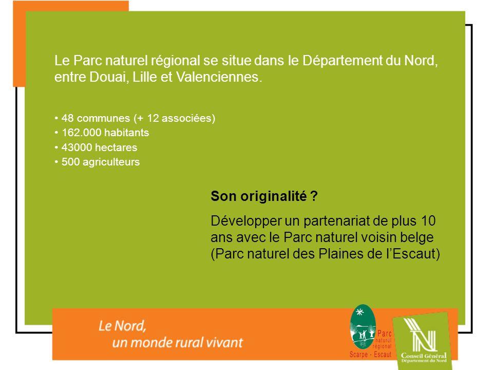 Le Parc naturel régional se situe dans le Département du Nord, entre Douai, Lille et Valenciennes. 48 communes (+ 12 associées) 162.000 habitants 4300