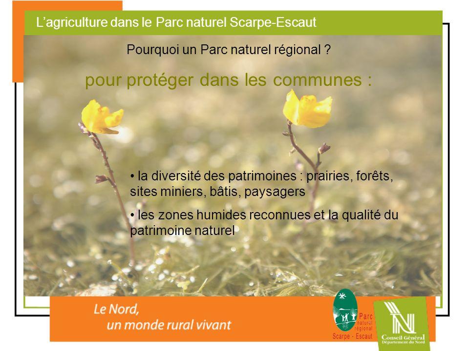 Lagriculture dans le Parc naturel Scarpe-Escaut Pourquoi un Parc naturel régional ? pour protéger dans les communes : la diversité des patrimoines : p