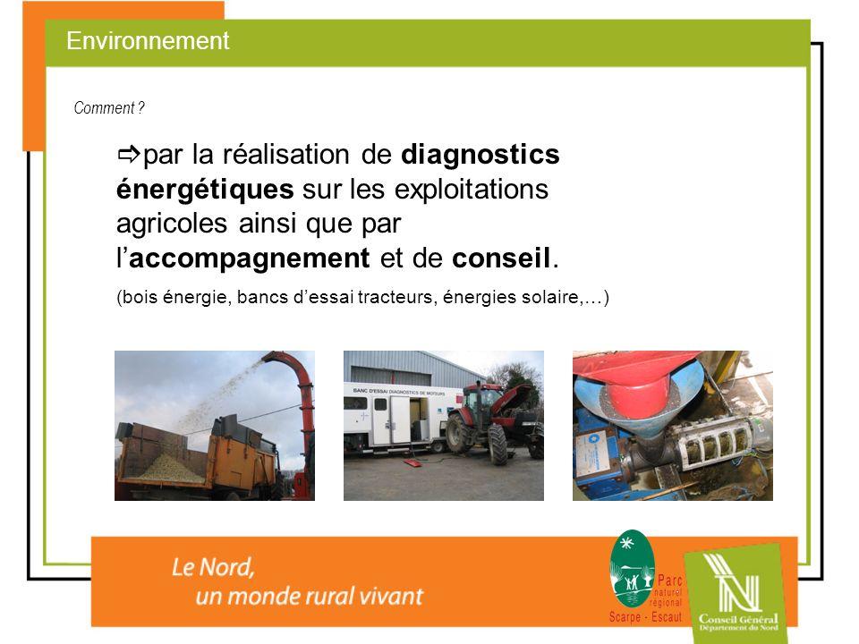 par la réalisation de diagnostics énergétiques sur les exploitations agricoles ainsi que par laccompagnement et de conseil. (bois énergie, bancs dessa