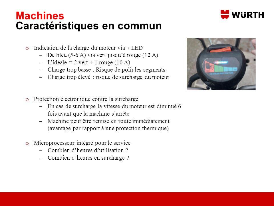 Machines Caractéristiques en commun o Indication de la charge du moteur via 7 LED De bleu (5-6 A) via vert jusquà rouge (12 A) Lidéale = 2 vert + 1 ro