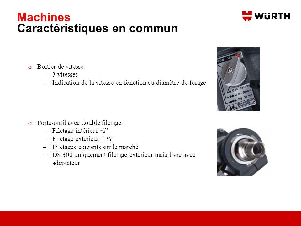 Machines Caractéristiques en commun o Boitier de vitesse 3 vitesses Indication de la vitesse en fonction du diamètre de forage o Porte-outil avec doub