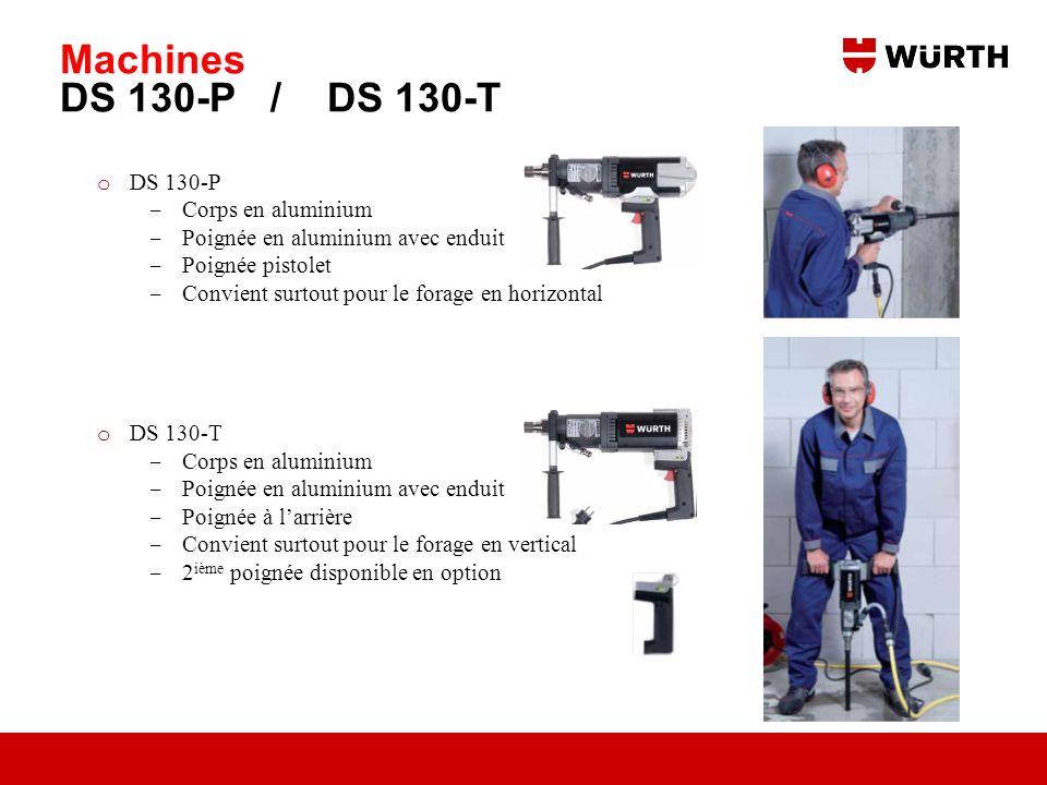 Machines DS 130-P / DS 130-T o DS 130-P Corps en aluminium Poignée en aluminium avec enduit Poignée pistolet Convient surtout pour le forage en horizo