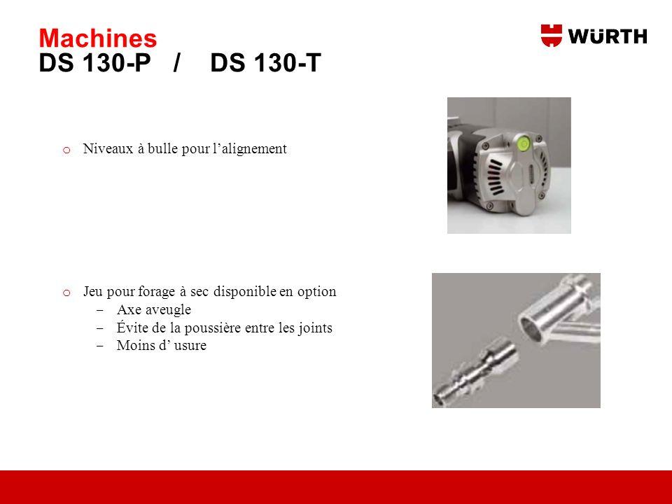 Machines DS 130-P / DS 130-T o Niveaux à bulle pour lalignement o Jeu pour forage à sec disponible en option Axe aveugle Évite de la poussière entre l