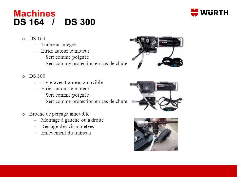 Machines DS 164 / DS 300 o DS 164 Traîneau intégré Etrier autour le moteur Sert comme poignée Sert comme protection en cas de chute o DS 300 Livré ave