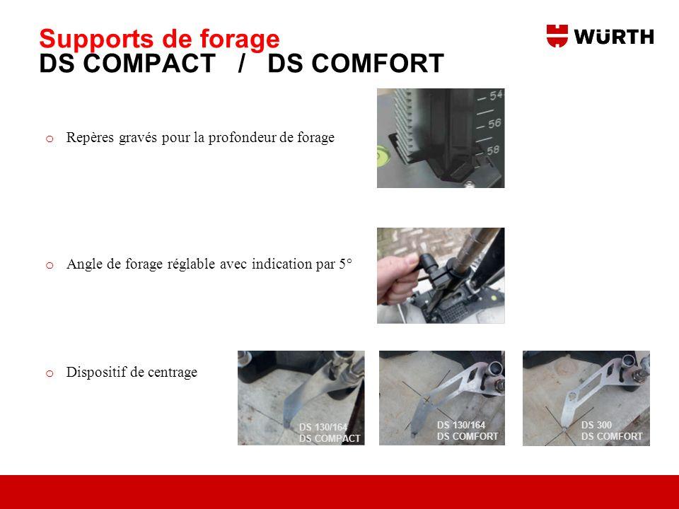 Supports de forage DS COMPACT / DS COMFORT o Repères gravés pour la profondeur de forage o Angle de forage réglable avec indication par 5° o Dispositi