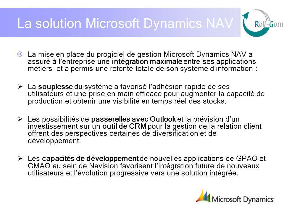 La solution Microsoft Dynamics NAV La mise en place du progiciel de gestion Microsoft Dynamics NAV a assuré à lentreprise une intégration maximale ent