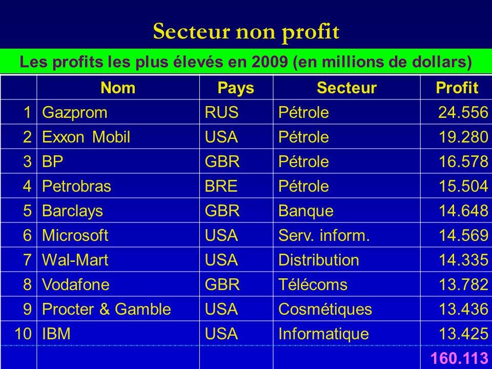 Secteur non profit Les profits les plus élevés en 2009 (en millions de dollars) NomPaysSecteurProfit 1GazpromRUSPétrole24.556 2Exxon MobilUSAPétrole19.280 3BPGBRPétrole16.578 4PetrobrasBREPétrole15.504 5BarclaysGBRBanque14.648 6MicrosoftUSAServ.