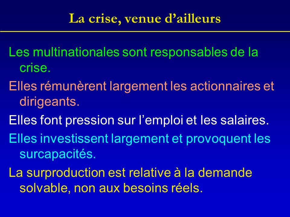 La crise, venue dailleurs Les multinationales sont responsables de la crise.