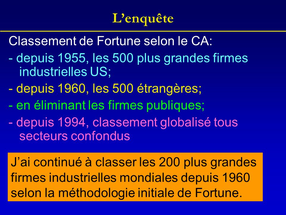 Classement de Fortune selon le CA: - depuis 1955, les 500 plus grandes firmes industrielles US; - depuis 1960, les 500 étrangères; - en éliminant les firmes publiques; - depuis 1994, classement globalisé tous secteurs confondus Jai continué à classer les 200 plus grandes firmes industrielles mondiales depuis 1960 selon la méthodologie initiale de Fortune.