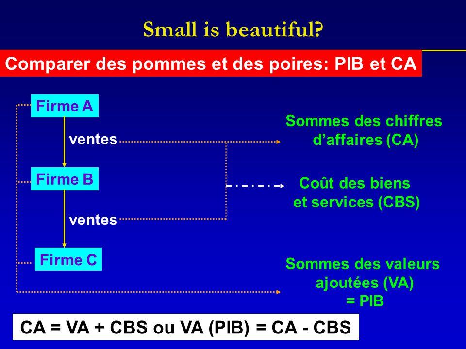 Comparer des pommes et des poires: PIB et CA Firme A Firme B Firme C ventes Sommes des chiffres daffaires (CA) Sommes des valeurs ajoutées (VA) = PIB CA = VA + CBS ou VA (PIB) = CA - CBS Coût des biens et services (CBS)