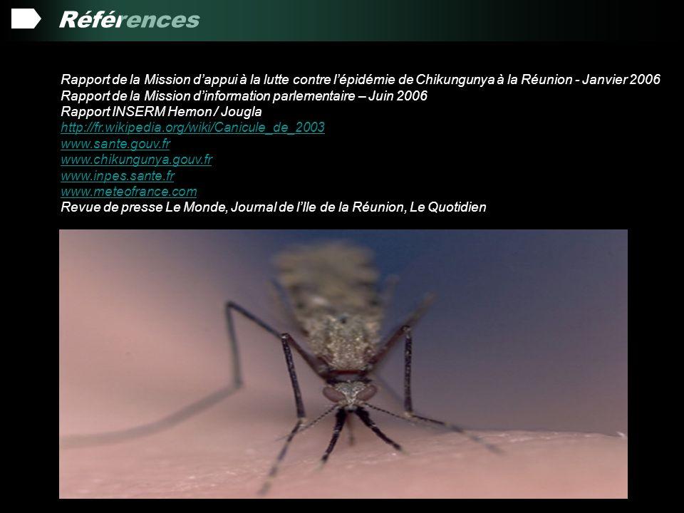 Références Rapport de la Mission dappui à la lutte contre lépidémie de Chikungunya à la Réunion - Janvier 2006 Rapport de la Mission dinformation parlementaire – Juin 2006 Rapport INSERM Hemon / Jougla http://fr.wikipedia.org/wiki/Canicule_de_2003 www.sante.gouv.fr www.chikungunya.gouv.fr www.inpes.sante.fr www.meteofrance.com Revue de presse Le Monde, Journal de lIle de la Réunion, Le Quotidien