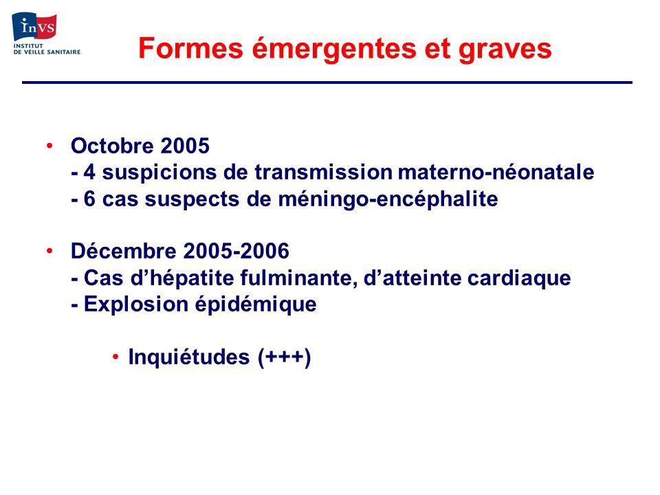 Octobre 2005 - 4 suspicions de transmission materno-néonatale - 6 cas suspects de méningo-encéphalite Décembre 2005-2006 - Cas dhépatite fulminante, d