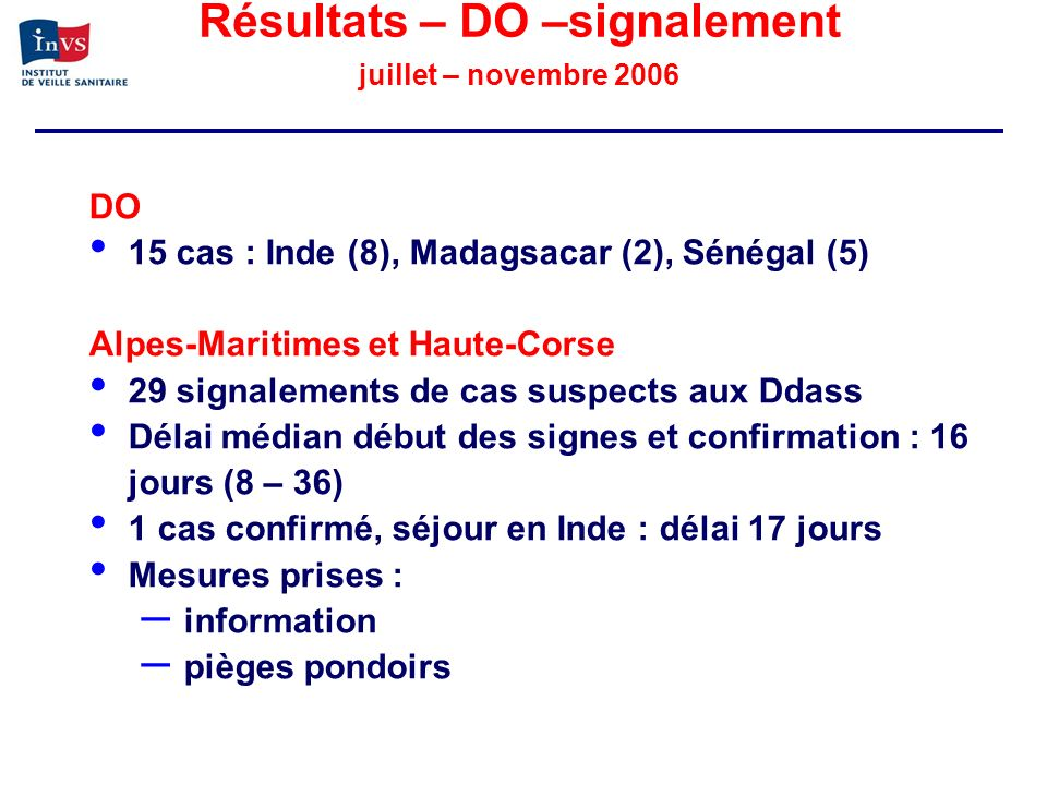 Résultats – DO –signalement juillet – novembre 2006 DO 15 cas : Inde (8), Madagsacar (2), Sénégal (5) Alpes-Maritimes et Haute-Corse 29 signalements d