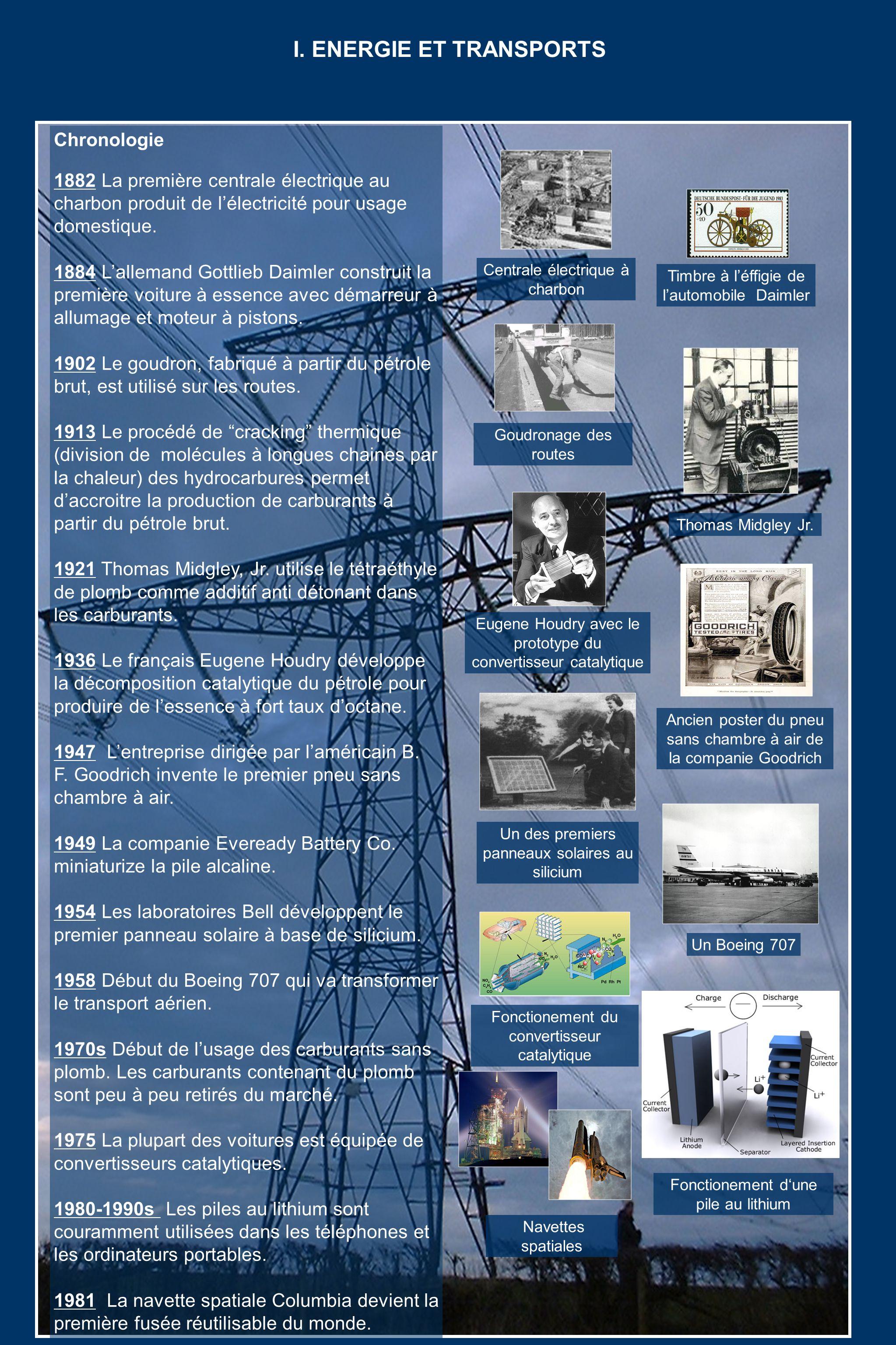 Chronologie 1882 La première centrale électrique au charbon produit de lélectricité pour usage domestique.