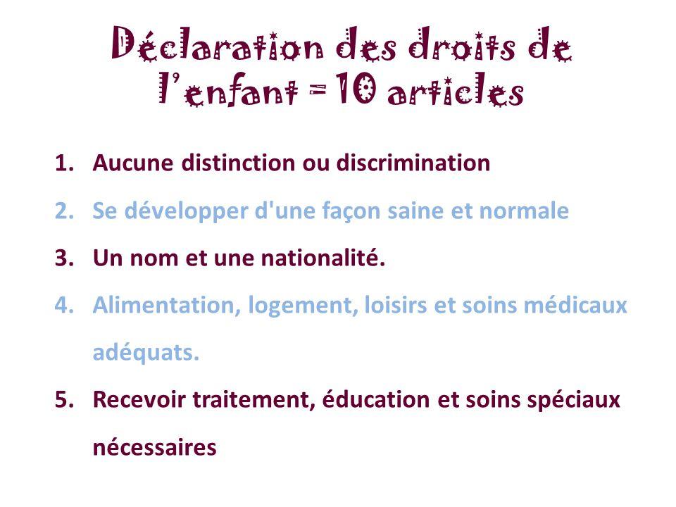 1.Aucune distinction ou discrimination 2.Se développer d une façon saine et normale 3.Un nom et une nationalité.