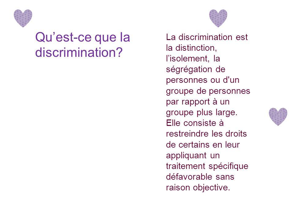 La discrimination est la distinction, lisolement, la ségrégation de personnes ou d un groupe de personnes par rapport à un groupe plus large.