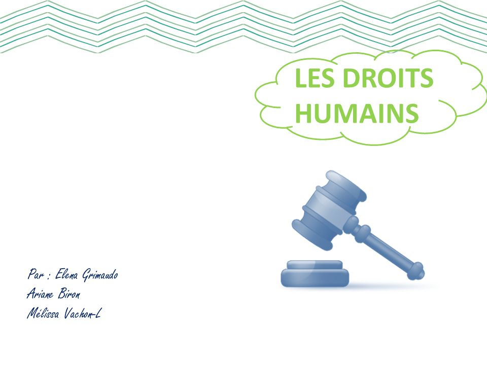 LES DROITS HUMAINS Par : Elena Grimaudo Ariane Biron Mélissa Vachon-L
