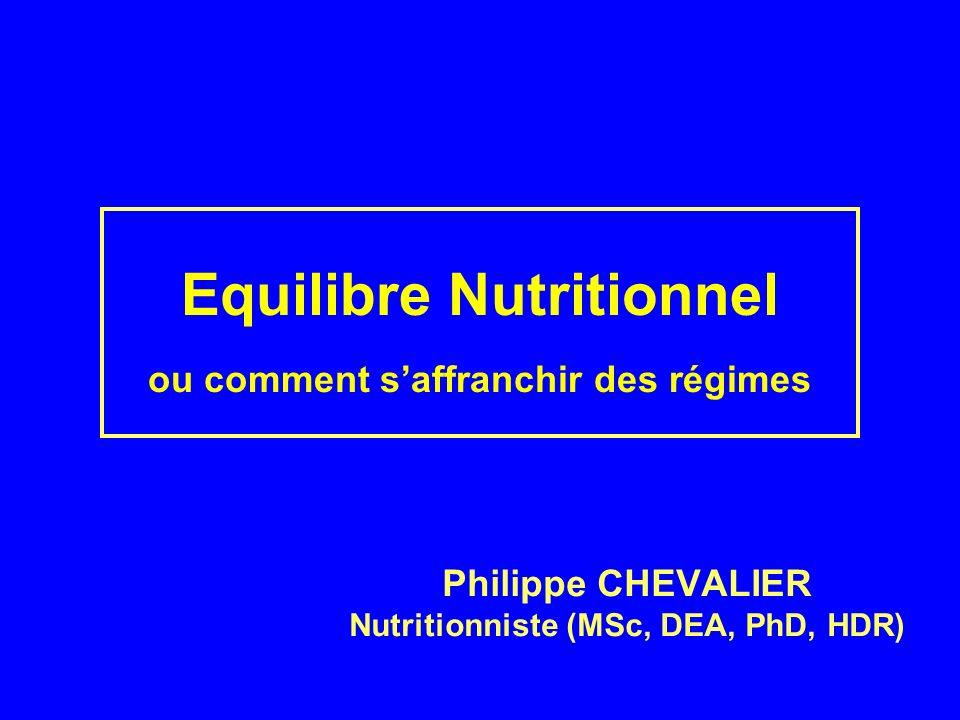 Equilibre Nutritionnel ou comment saffranchir des régimes Philippe CHEVALIER Nutritionniste (MSc, DEA, PhD, HDR)