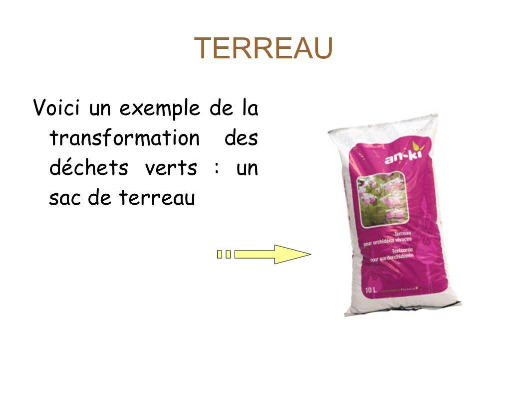 TERREAU Voici un exemple de la transformation des déchets verts : un sac de terreau