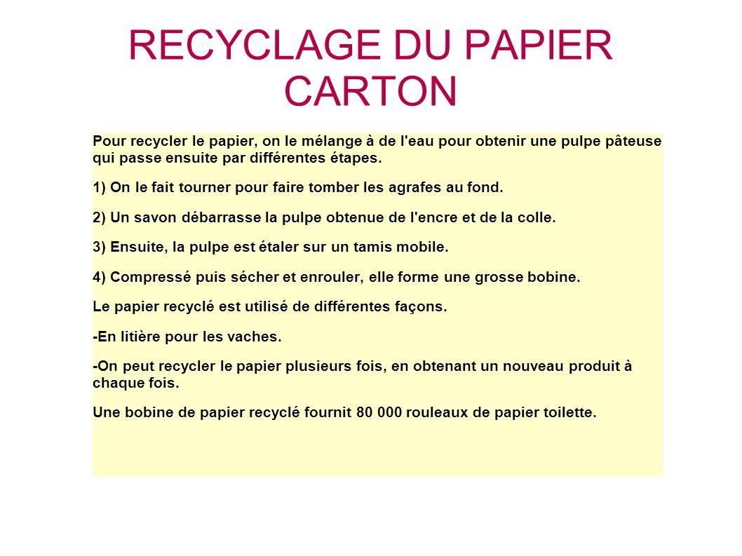 RECYCLAGE DU PAPIER CARTON Pour recycler le papier, on le mélange à de l'eau pour obtenir une pulpe pâteuse qui passe ensuite par différentes étapes.