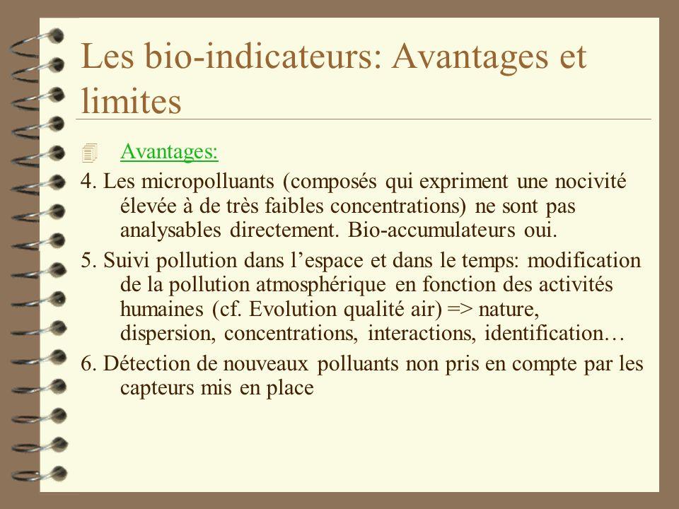 Les bio-indicateurs 4 Avantages 1. Les organismes vivants sont de précieux révélateurs des perturbations de l'environnement car ils intègrent l'ensemb