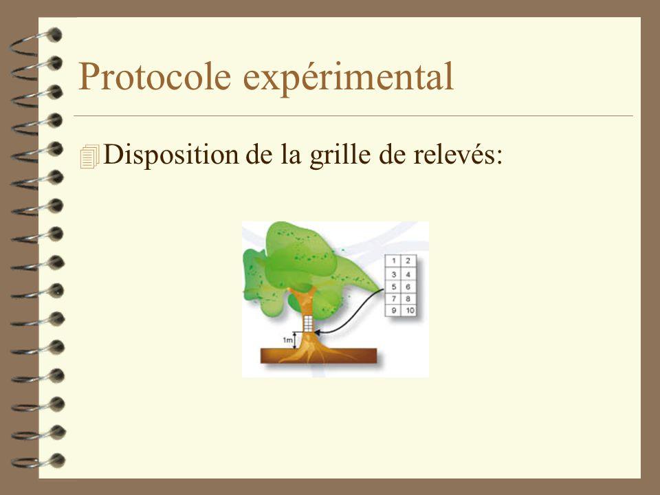Protocole expérimental 1. Choix de 2-3 stations: il faut 6 arbres de même espèce et de diamètre > à 20 cm 2. Dénombrement et/ou identification des lic
