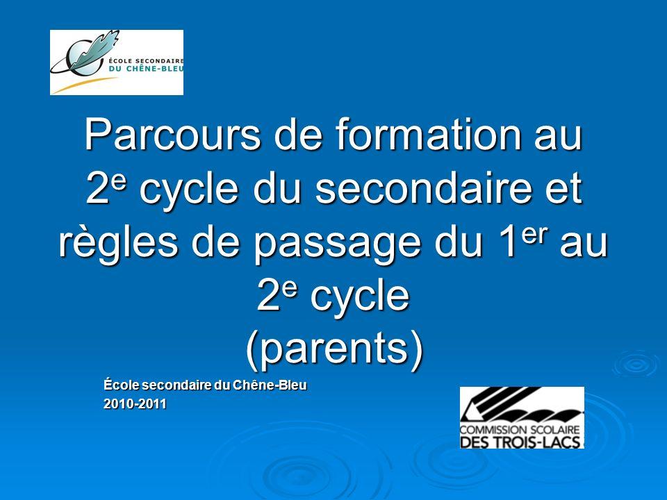 Parcours de formation au 2 e cycle du secondaire et règles de passage du 1 er au 2 e cycle (parents) École secondaire du Chêne-Bleu 2010-2011
