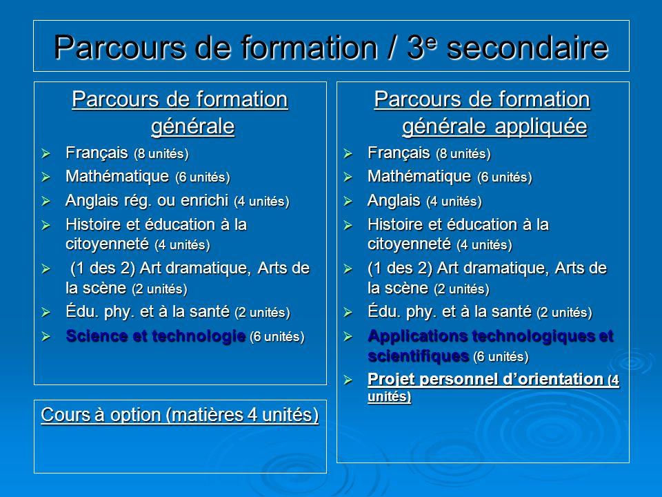 Parcours de formation / 3 e secondaire Parcours de formation générale Français (8 unités) Français (8 unités) Mathématique (6 unités) Mathématique (6