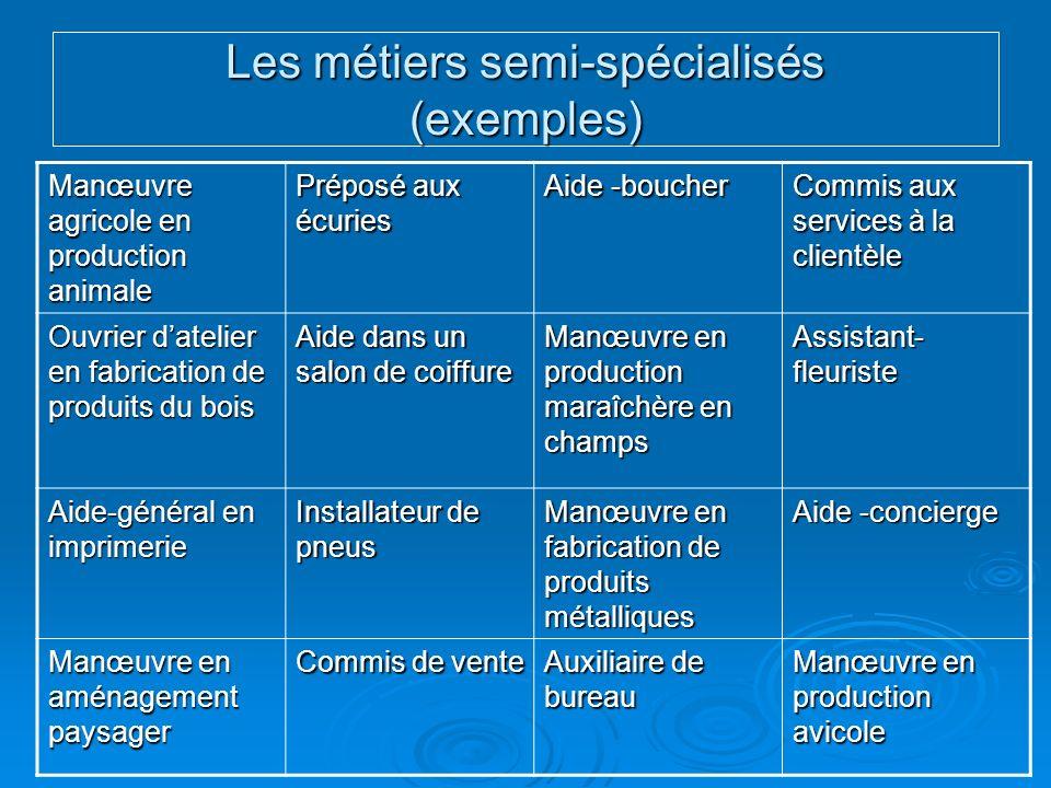 Les métiers semi-spécialisés (exemples) Manœuvre agricole en production animale Préposé aux écuries Aide -boucher Commis aux services à la clientèle O