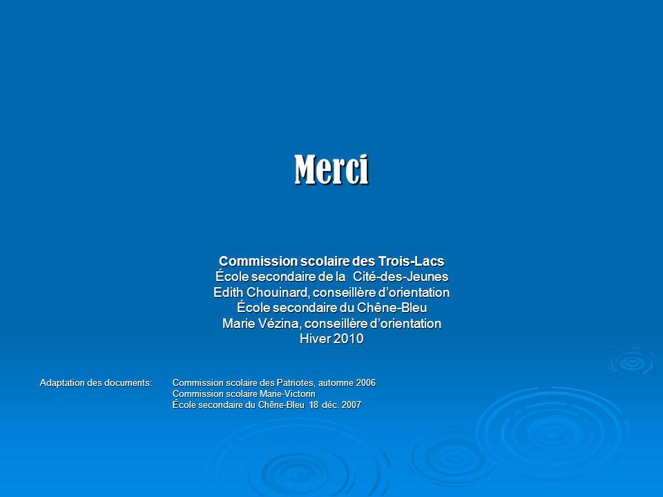 Merci Commission scolaire des Trois-Lacs École secondaire de la Cité-des-Jeunes Edith Chouinard, conseillère dorientation École secondaire du Chêne-Bl