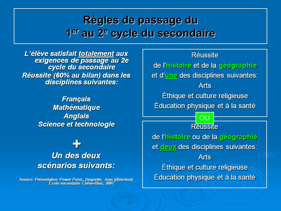Règles de passage du 1 er au 2 e cycle du secondaire Lélève satisfait totalement aux exigences de passage au 2e cycle du secondaire Réussite (60% au b