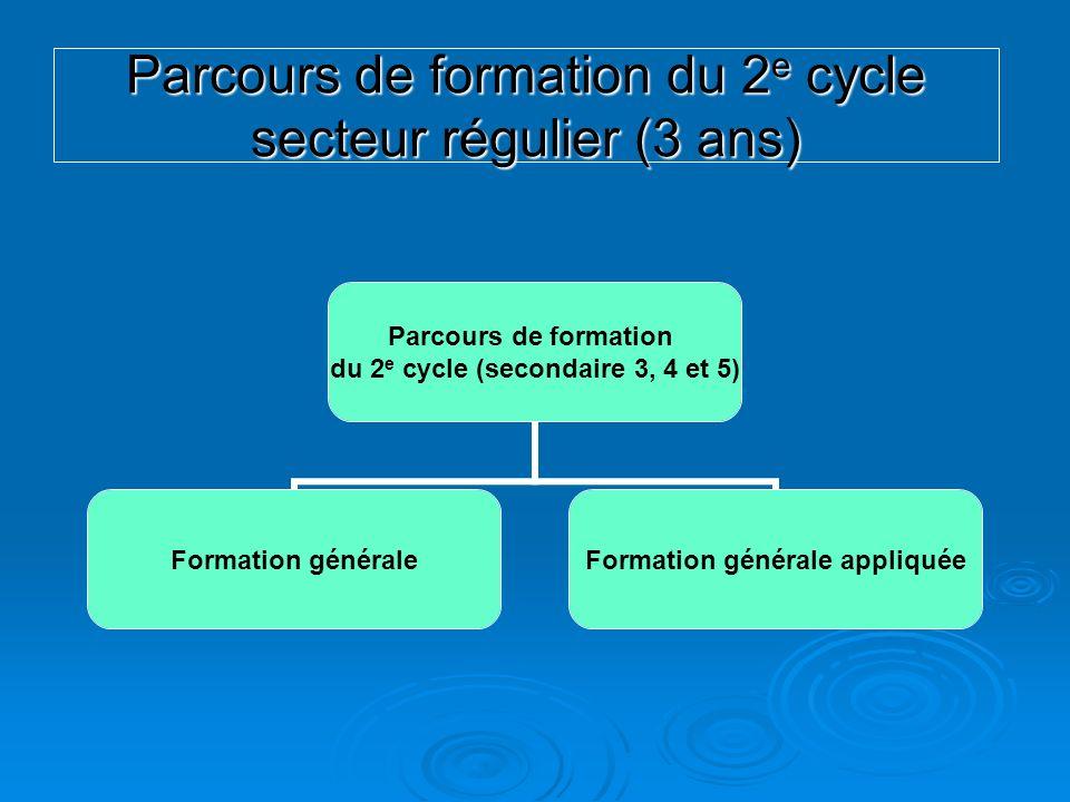 Parcours de formation du 2 e cycle secteur régulier (3 ans) Parcours de formation du 2 e cycle (secondaire 3, 4 et 5) Formation générale Formation gén