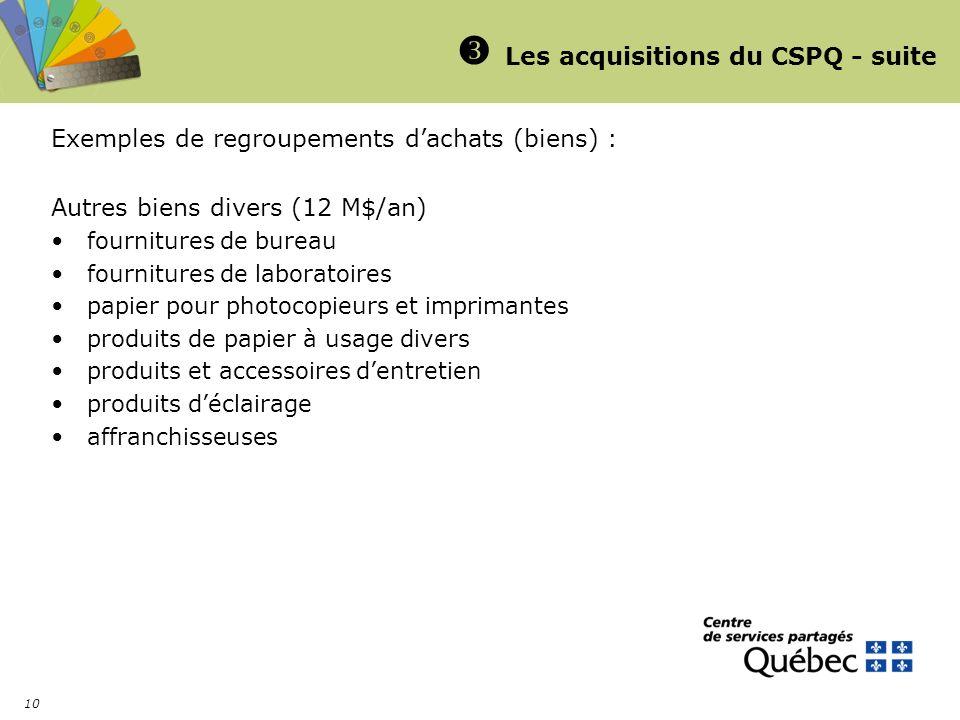 10 Les acquisitions du CSPQ - suite Exemples de regroupements dachats (biens) : Autres biens divers (12 M$/an) fournitures de bureau fournitures de la