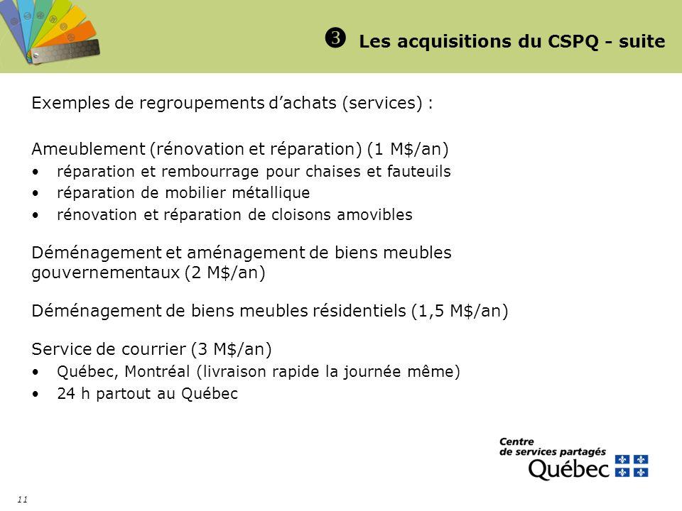 11 Les acquisitions du CSPQ - suite Exemples de regroupements dachats (services) : Ameublement (rénovation et réparation) (1 M$/an) réparation et remb
