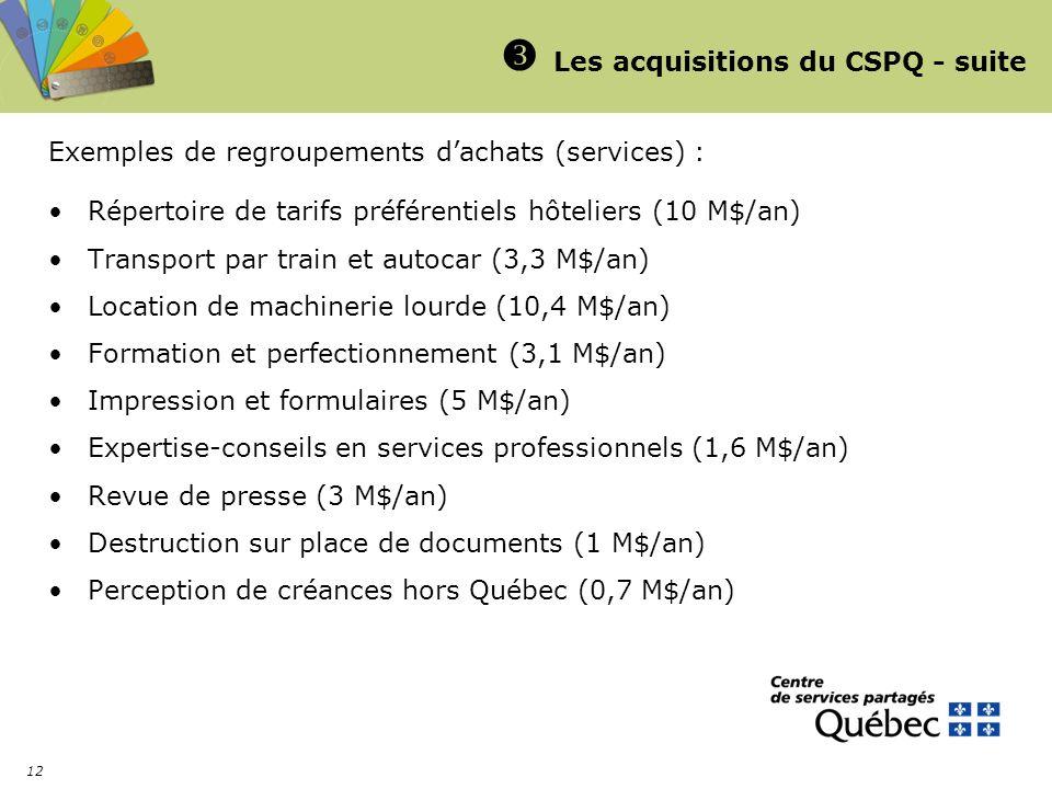 12 Les acquisitions du CSPQ - suite Exemples de regroupements dachats (services) : Répertoire de tarifs préférentiels hôteliers (10 M$/an) Transport par train et autocar (3,3 M$/an) Location de machinerie lourde (10,4 M$/an) Formation et perfectionnement (3,1 M$/an) Impression et formulaires (5 M$/an) Expertise-conseils en services professionnels (1,6 M$/an) Revue de presse (3 M$/an) Destruction sur place de documents (1 M$/an) Perception de créances hors Québec (0,7 M$/an)