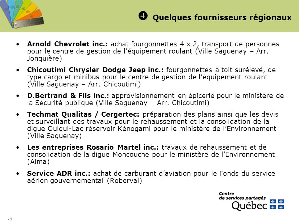 14 Quelques fournisseurs régionaux Arnold Chevrolet inc.: achat fourgonnettes 4 x 2, transport de personnes pour le centre de gestion de léquipement roulant (Ville Saguenay – Arr.