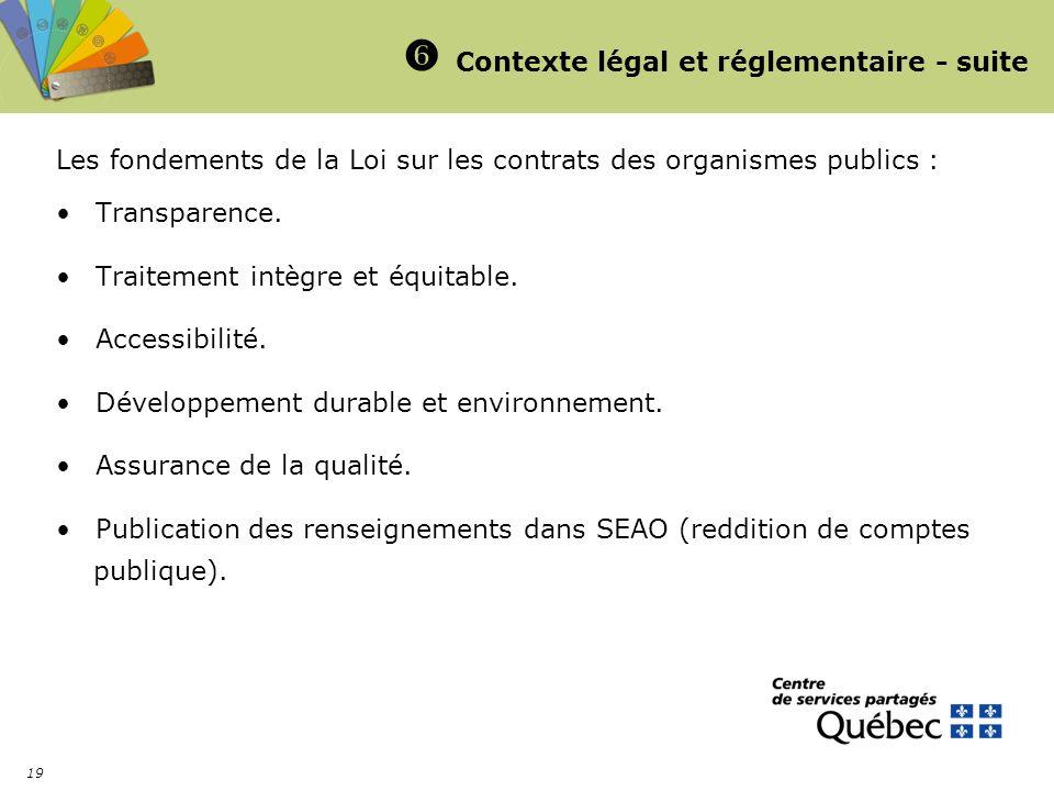 19 Contexte légal et réglementaire - suite Les fondements de la Loi sur les contrats des organismes publics : Transparence. Traitement intègre et équi