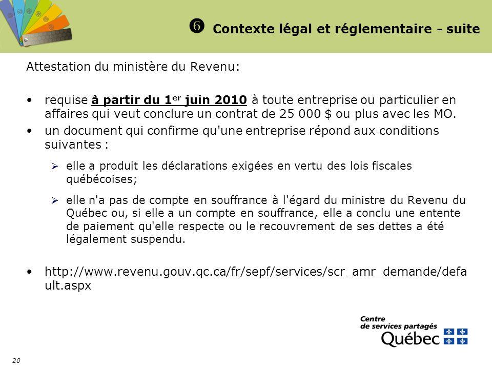 20 Contexte légal et réglementaire - suite Attestation du ministère du Revenu: requise à partir du 1 er juin 2010 à toute entreprise ou particulier en affaires qui veut conclure un contrat de 25 000 $ ou plus avec les MO.