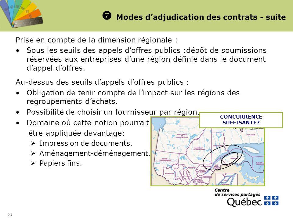 23 Modes dadjudication des contrats - suite Prise en compte de la dimension régionale : Sous les seuils des appels doffres publics :dépôt de soumissio