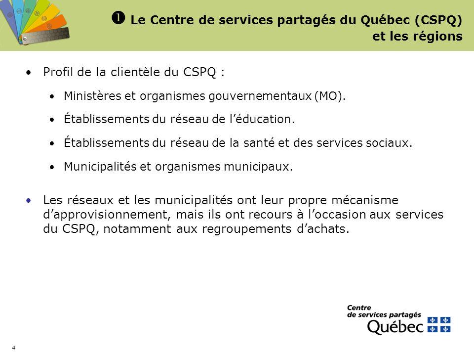 4 Le Centre de services partagés du Québec (CSPQ) et les régions Profil de la clientèle du CSPQ : Ministères et organismes gouvernementaux (MO). Établ