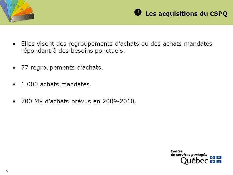 6 Les acquisitions du CSPQ Elles visent des regroupements dachats ou des achats mandatés répondant à des besoins ponctuels. 77 regroupements dachats.