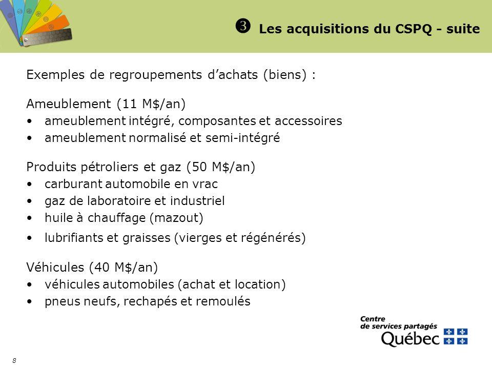 8 Les acquisitions du CSPQ - suite Exemples de regroupements dachats (biens) : Ameublement (11 M$/an) ameublement intégré, composantes et accessoires ameublement normalisé et semi-intégré Produits pétroliers et gaz (50 M$/an) carburant automobile en vrac gaz de laboratoire et industriel huile à chauffage (mazout) lubrifiants et graisses (vierges et régénérés) Véhicules (40 M$/an) véhicules automobiles (achat et location) pneus neufs, rechapés et remoulés