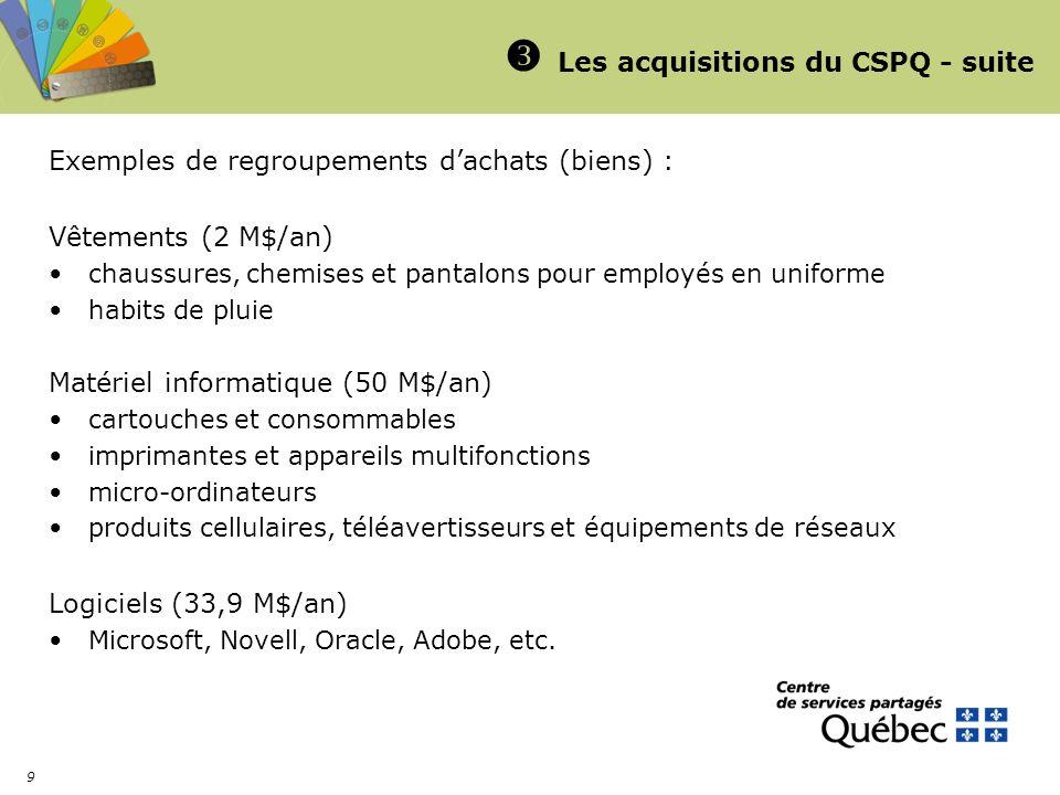 9 Les acquisitions du CSPQ - suite Exemples de regroupements dachats (biens) : Vêtements (2 M$/an) chaussures, chemises et pantalons pour employés en
