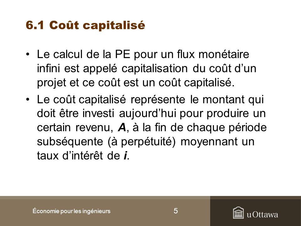 6 6.1 Coût capitalisé Économie pour les ingénieurs