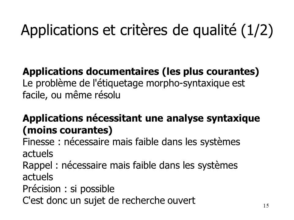 15 Applications et critères de qualité (1/2) Applications documentaires (les plus courantes) Le problème de l'étiquetage morpho-syntaxique est facile,