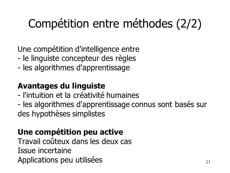 21 Compétition entre méthodes (2/2) Une compétition d'intelligence entre - le linguiste concepteur des règles - les algorithmes d'apprentissage Avanta