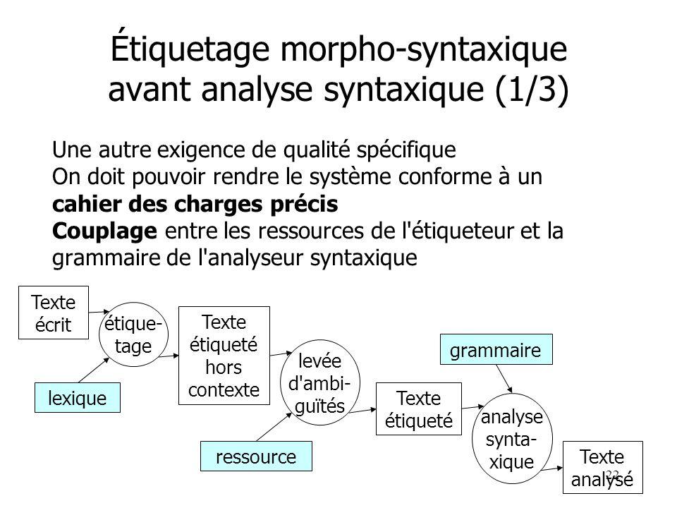 22 Étiquetage morpho-syntaxique avant analyse syntaxique (1/3) Une autre exigence de qualité spécifique On doit pouvoir rendre le système conforme à u