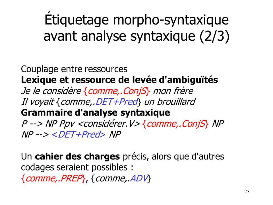 23 Étiquetage morpho-syntaxique avant analyse syntaxique (2/3) Couplage entre ressources Lexique et ressource de levée d'ambiguïtés Je le considère {c