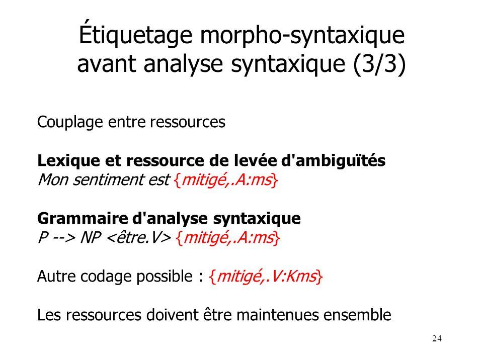24 Étiquetage morpho-syntaxique avant analyse syntaxique (3/3) Couplage entre ressources Lexique et ressource de levée d'ambiguïtés Mon sentiment est